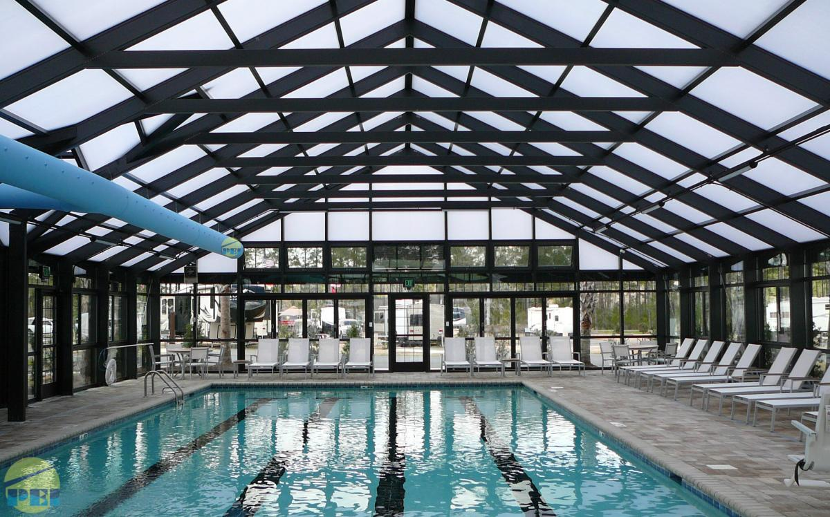 Commercial 48 X 78 Swimming Pool Enclosure Located In Myrtle Beach Which Covers A 25 X 56 Pool