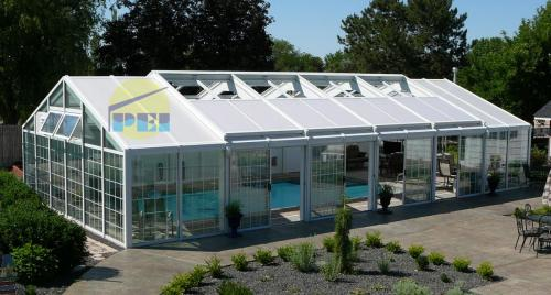 Residential pool enclosures swimming pools glass sunrooms for Inground pool greenhouse