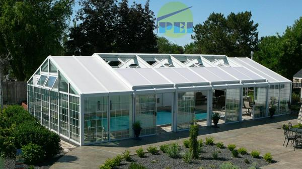 Residential Swimming Pool Enclosure Gable Shaped Retracting Roof