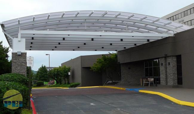 Curved Polycarbonate Roof Holiday Inn Porte Cochere