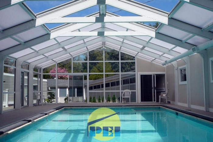 Pa pool enclosures spa encl sunrooms retractable for Indoor pool with retractable roof